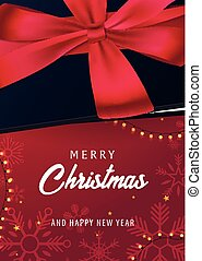 Marry Christmas and Happy New Year poster on red background....