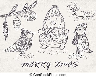 Marry Christmas Card with hand drawn birds and snowman....