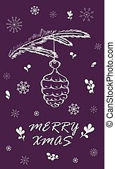 Marry Christmas Card with pine branch. Hand drawn winter...