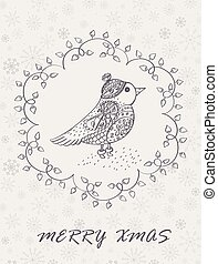 Marry Christmas Card with hand drawn bird. Winter Holiday...