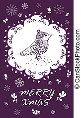 Marry Christmas Card with hand drawn bird. Hand drawn winter...