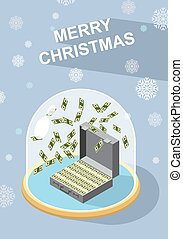 marry christmas. Falling money. Case of money. Wealth....