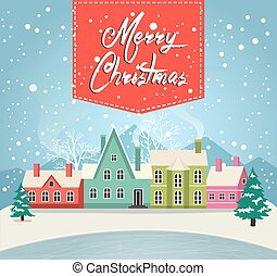 Marry Christmas greeting card with village - Marry Christmas...