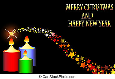 Marry Christmas Happy new year 2015 shooting star vector...