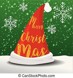 Marry christmas hat of santa vector graphic