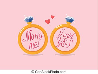 Marry me and I said yes. Two diamond ring wedding concept