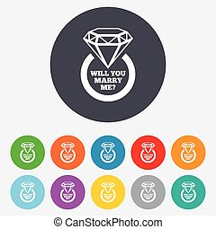 Will you marry me ring sign icon. Engagement symbol. Round colourful 11 buttons. Vector