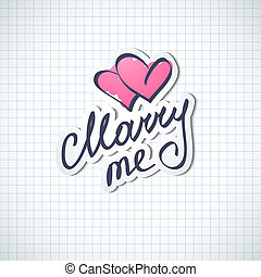 marry me, vector hanwritten text