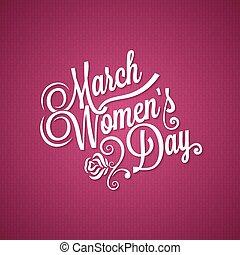 mars, årgång, bakgrund, 8, dag, kvinnor