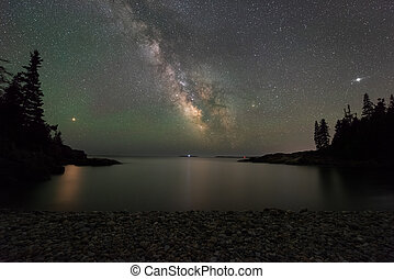 Mars and the Milky Way Galaxy reflecting in a cove