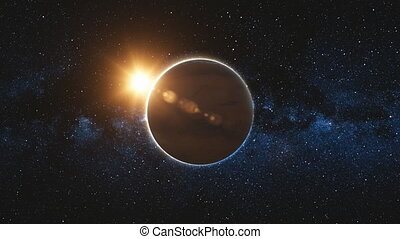 Mars approach, rotate in black Universe of stars