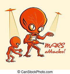 Mars attacks! - Martian invasion in retro three color print...