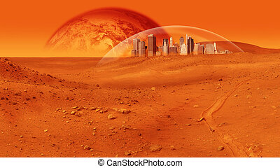 Mars Base - Fantasy image of city under a glass dome on red...