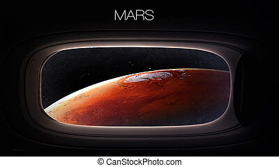 Mars - Beauty of solar system planet in spaceship window...