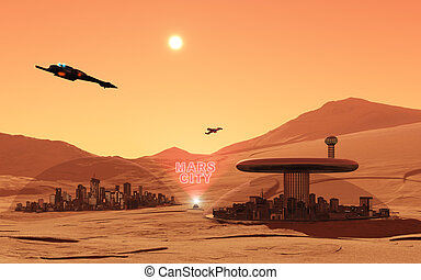 Mars City - This image shows the mars in feature