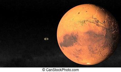 Mars Closeup. CG. hd - Passing Mars animation.