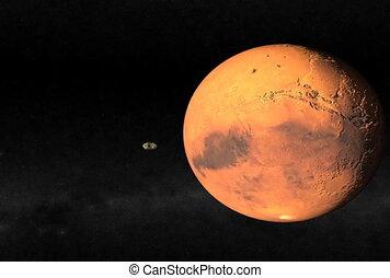 Mars Closeup. CG. ntsc - Passing Mars animation.