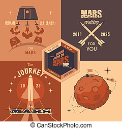 Mars colonization program flat design labels - Flat design ...
