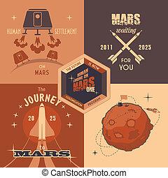 Mars colonization program flat design labels - Flat design ...