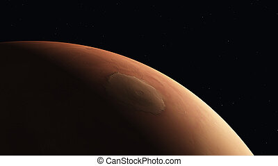 Mars crescent - Computer generated 3D illustration with a...