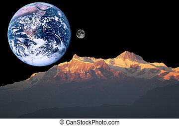 Mars, Earth and Moon - Composite photographs creating a...