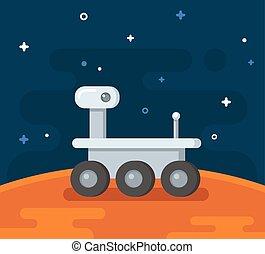 Mars exploration illustration - Mars research rover. Flat ...