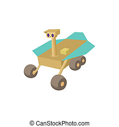 Mars exploration rover icon, cartoon style