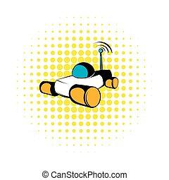 Mars exploration rover icon, comics style