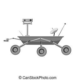 Mars exploration rover icon, gray monochrome style