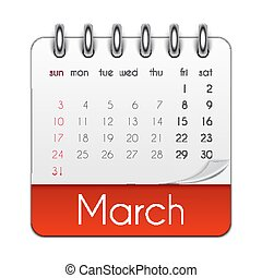 mars, illustration, vektor, 2019, mall, blad, kalender