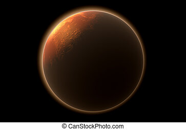 Mars In Space - A 3D render of mars planet with the sun...