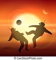 mars, jeux, astronautes, planète, football