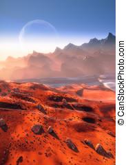 Mars landscape and Phobos moon - Mars - martian landscape...