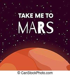 mars., me, rouges, solaire, affiche, espace, astronomy., system., quote., plat, style., dessin, planète, mission., prendre, dessin animé