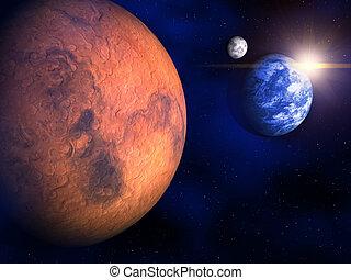 mars, mull, och, månen