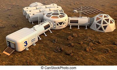 mars, planeet, satelliet, station, baan, base, marsmannetje,...