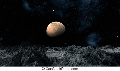Mars (planet) against mountains and the star sky