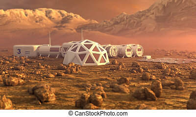Mars planet satellite station orbit base martian colony...