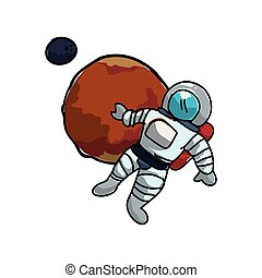 mars planet with astronaut