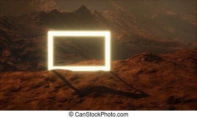 mars, poussière, souffler, surface, planète, portail, néon