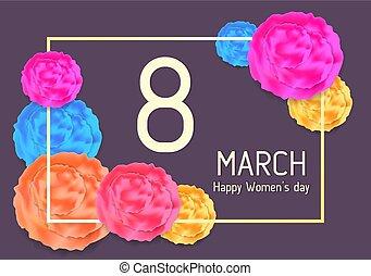mars, résumé, salutation, 8, fleurs, carte