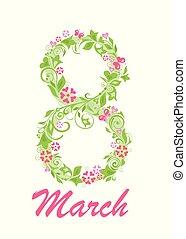mars, résumé, salutation, numéro 8, fleurs, carte