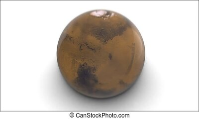 Mars rotates on a white background. 3d model of planet Mars.