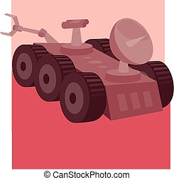 Mars rover - An image of a possible mars rover roaming the...