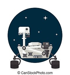 Mars Rover, Flat design, vector illustration, isolated on...
