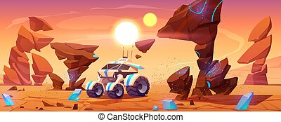 Mars rover on red planet surface explore landscape - Mars ...