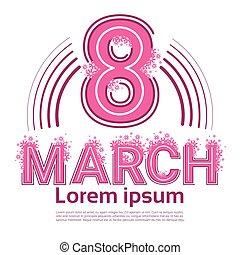 mars, salutation, 8, international, jour, carte, femmes