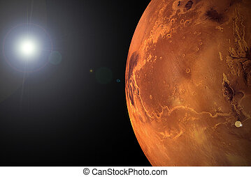 Photo illustration of Mars and the sun. Computer generated image.