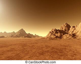 3d rendered, fictional Mars like landscape.