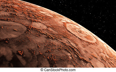 Mars - the red planet. Martian surface and dust in the...